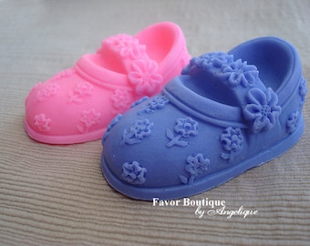 70 BOOTIE SOAPS {Favors} - Little Shoe Soap Favors, Birthday Favor, Baby Shower Favor, Mary Jane Style Soaps, Flowers