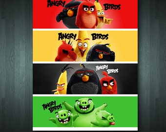 ANGRY BIRDS  4 Water Bottle Labels | Digital Item | No item will be shipped