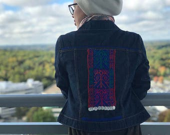 BOHO BEDOUIN Collection - Denim Jean Jacket with Boho/Bedouin Influence - HANDMADE- Beads, Coins, reds and blues