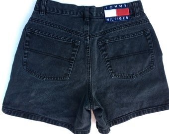 Vintage Tommy Hilfiger Women's Black Denim Shorts Bold Tag 1990s