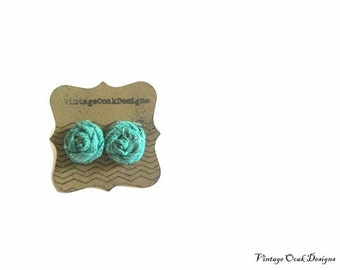 deep sea green mini rosette earrings,fabric flower studs,rosette earrings,rosette jewelry,textile studs,bridesmaid earrings,clip on earrings