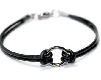 "Leather Bracelet ox metal ""Circle of Life"" , Unisex, Modern, boho, minimalist, rocker, elegant -  by Lissie Design - Free shipping!"