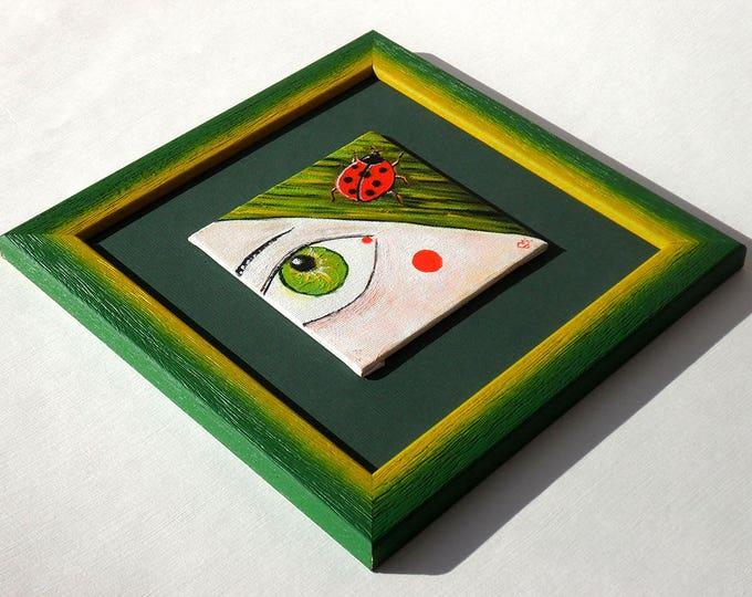 Ladybug - small oil painting on canvas