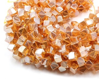 15'' strand natural agate square beads in champagne