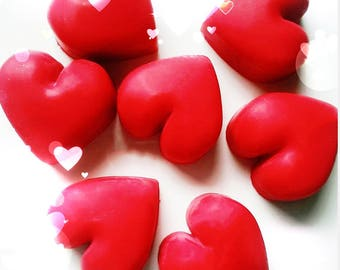 Love heart wax melts, red heart wax melts, home gift, scented soy wax melts, Designer fragrance wax melts, Jo Malone wax melts, gift idea.