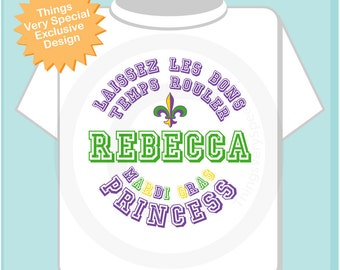 Mardi Gras Princess Shirt, Personalized Mardi Gras Shirt or Onesie, Mardi Gras Shirt for Toddlers and Kids (02102012e)