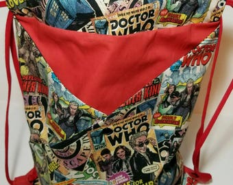 Doctor Who Drawstring Bag with front pocket