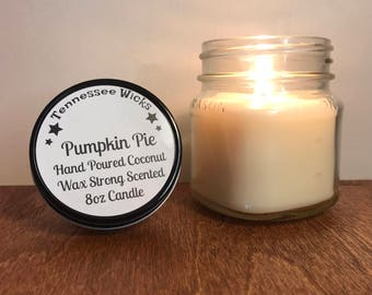 Pumpkin Pie Scented Hand Poured Mason Jar Coconut Wax Candle All Natural