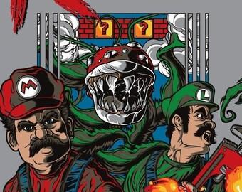 Men's Contra Super Mario Bros Nintendo Mash-Up Black T-Shirt S-2XL