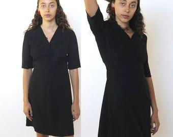 moonlight dance -- vintage 80s designer emporio armani mini dress in black S