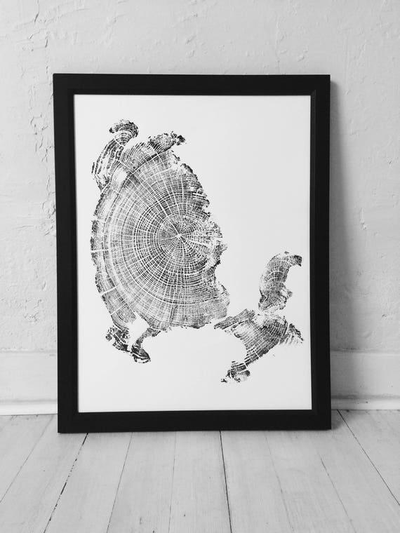 Cannon Beach art, Driftwood wall art, Woodcut print, Oregon Coast Art, Cannon Beach Oregon, Tree ring Art, Tree Ring Print, Fathers Day gift