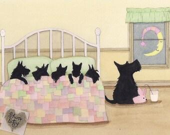Scottish terrier (scottie) family ready for bed / Lynch signed folk art print