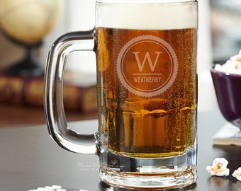 Thurston Personalized Beer Mug -Father's Day, Monogrammed Beer Mug, Beer Gifts, Perfect for Bar Glass Collection