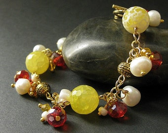 Gemstone Bracelet in Lemon Agate, Citrine Crystals and Fresh Water Pearl - Limited Edition. Handmade Bracelet.