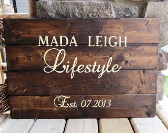 Customized Wood Sign - Established Date Sign, Rustic, Distressed, Country, Farmhouse, Shabby, Wood Plank, Home Decor, Mother's Day gift idea
