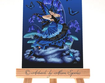 Shades of Blue Fairy Dancer Mushrooms Bluebells Butterflies Frog - ACEO Art Card