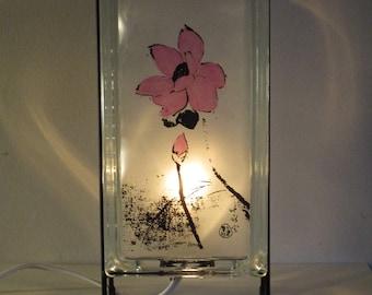 Yoga Studio Lotus Lamp FREE SHIPPING lotus glass block night light upcycled handmade lotus night light Oriental accent zen decor Asian lamp