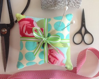 Set of two patchwork pincushion amy butler fabric sewing gift