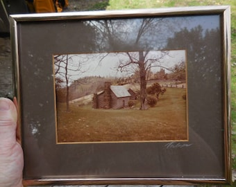 Vintage 1980s Gold Tone Metal Framed Picture/Photograph Brown Matted Signed by Artist Wall Hanging Art Old Rustic Cabin with Fence/Trees