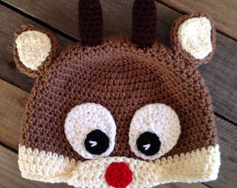 Crochet Rudolph the Reindeer Hat, Christmas hat, winter hat, Rudolph The Red Nose Reindeer, Gift Idea