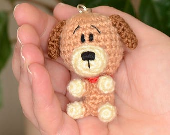 Little crochet puppy, Keyring puppy, Amigurumi dog, Crochet puppy toy, Amigurumi keychain, Soft toy dog, Plush dog, Amigurumi animals.