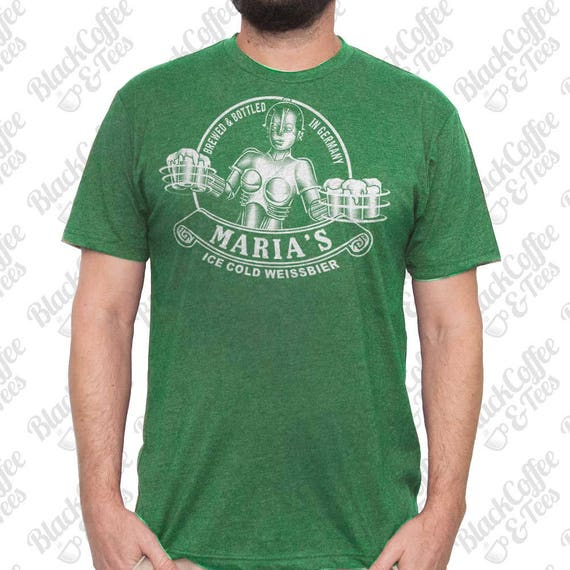 St. Patricks Day Shirt -Maria Metropolis Robot Shirt - Beer Shirt  - Men's Craft Beer Shirt - Hand Screen Printed Mens St Pattys Day Shirt