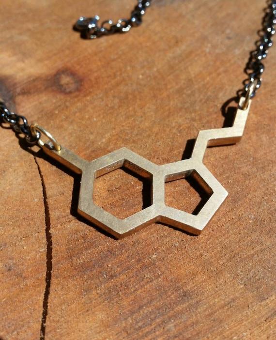 Serotonin Molecule Cast Bronze Neurotransmitter Necklace