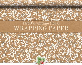 Vintage Floral Kraft Gift Wrapping Paper | Custom 1850's Floral Print Gift Wrap Paper 9 foot or 18 foot Rolls Great For Any Occasion.