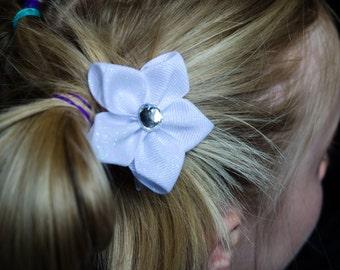 Hair Bow - White Glitter Grosgrain 5 Petal Hair Flower