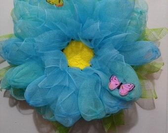 Blue Dahlia, deco mesh, butterfly, wreath