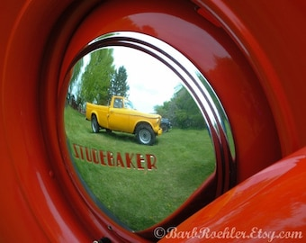 Studebaker Reflection - Red - Yellow - Green - Classic Car Art Prints - Retro Print - Vintage Car Photography - Garage Art - 8x10