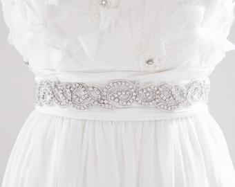 ALISA - Beaded Bridal Sash, Wedding Belt