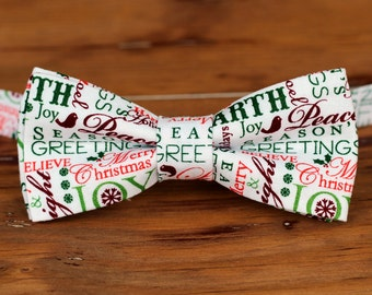Boys Christmas Bow Tie - red green holiday words on white cotton bowtie, boys Christmas bow tie, winter bow tie, baby toddler child preteen