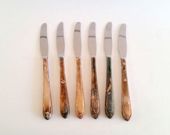 Vintage Silverware Set, Flatware, Knife, Insico Silver And Stainless Knives