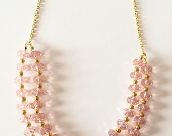 Dusty Pink Crystal and Gold Chunky Statement Necklace