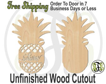 Pineapple welcome or solid- 325052 or 280302- Front Door Cutout, unfinished, wood cutout, laser cut, wood cut out, Door Hanger, wooden sign