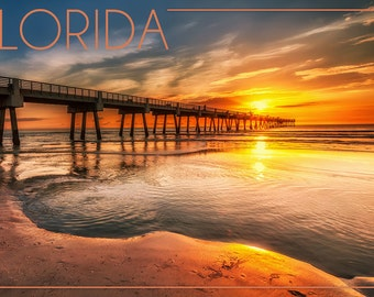 Florida - Pier and Sunset (Art Prints available in multiple sizes)
