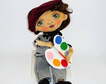 Artist doll Textile dolls cotton Collectible doll Soft doll Fabric doll Textile doll art Textile doll Handmade Doll Art doll Portrait doll