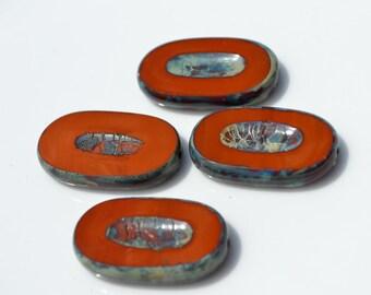 Dark Burnt ORange Red Large Czech Glass Ovals 4