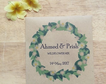 Wildflower seed wedding favour floral wreath