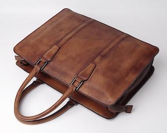 Brown Leather Briefcase, 14 inch Laptop Bag, Laptop Briefcase, Women's Work Bag, Shoulder Bag, Handmade Leather Briefcase, Cross Body Bag