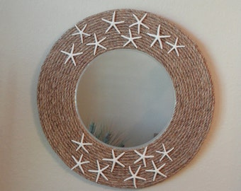 Round rope mirror, starfish mirror, coastal decor, beach decor, rope mirror, rustic coastal decor, nautical mirror, rope wall mirror