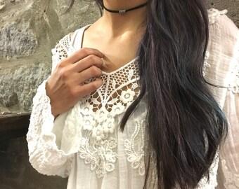 Choker necklace, Minimalist necklace, silver tube pendant necklace, black suede necklace, Layering Necklace, wrap bracelet, casual - AFN 115
