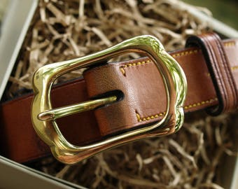 English Leather Belt - brass crown buckle