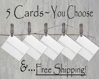 Pick any 5 Cards, Choose your own from my shop, Digital Tree Carvings, Anniversary, Birthday, Friendship, Wedding, Encouragement, 2 sizes