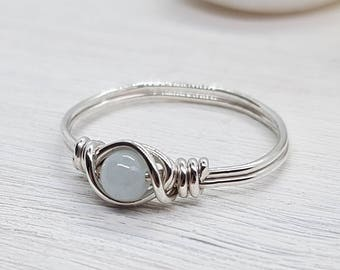Aquamarine Sterling Silver Ring - 925 - Silver Ring - Sterling Silver Wire Wrapped Ring - Friendship Ring - Boho - Minimalist