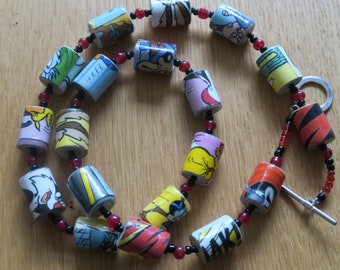 Handmade Unique Handrolled Antique Paper Beaded Necklace - Bugs & Co Comic