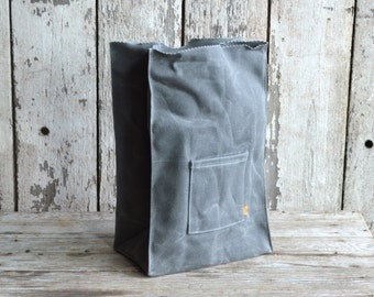 Marlowe Lunch Bag Slate, Waxed Canvas Lunch Tote, Waxed Canvas Lunch Bag, For Him, Gift for Dad, Fathers Day Gift, Zero Waste, No Plastic