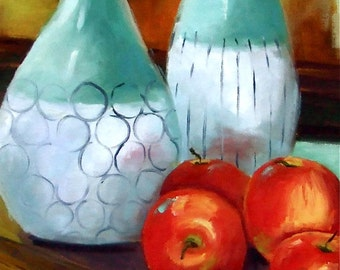 Apples • Still Life Painting • Oil Painting • Original Art • Oil Paintings • Daily Painters • Daily Painting • Apples • Turquoise