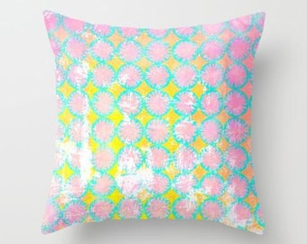 Pink and yellow nursing pillow, geometric pillow design for decorating babies room, sofa or chair nursery cushion